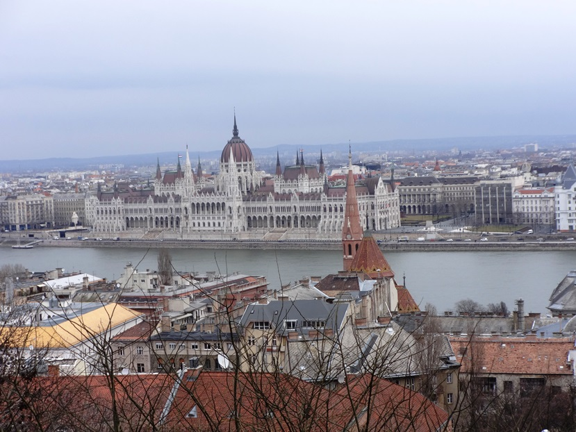 Hungarian Parliament Building, from Castle Hill. Budapest