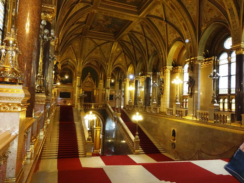 Grand staircase of the Hungarian Parliament Building. Budapest