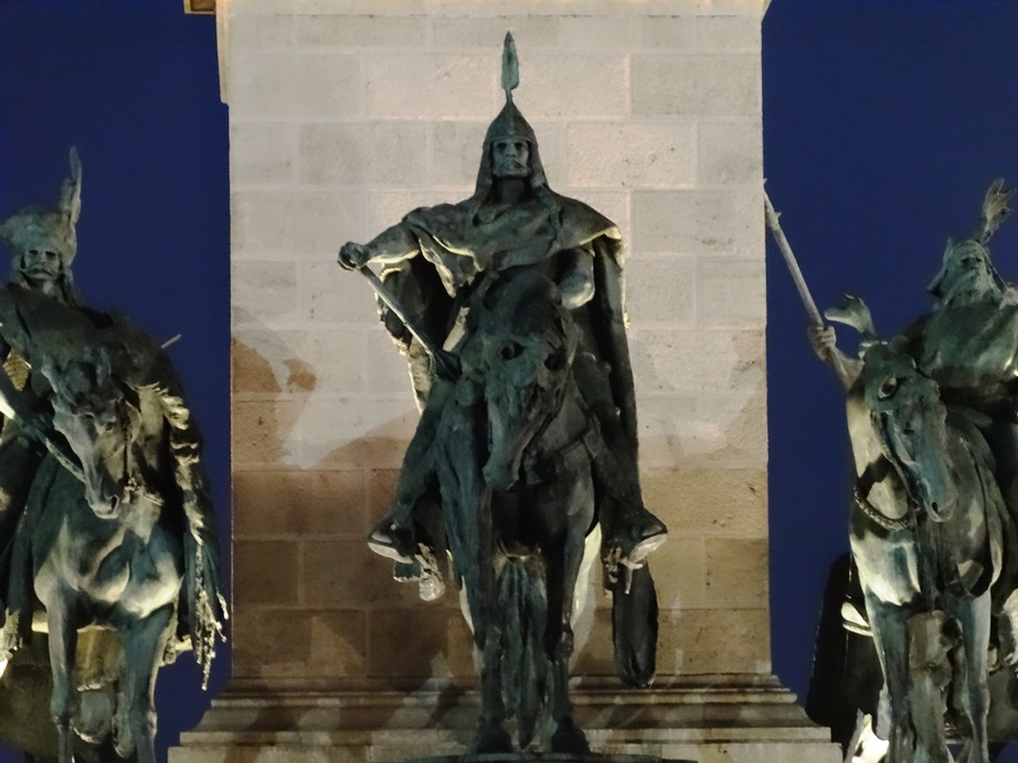 Three of the Seven Chieftains of the Magyars, Heroes Square, Budapest.