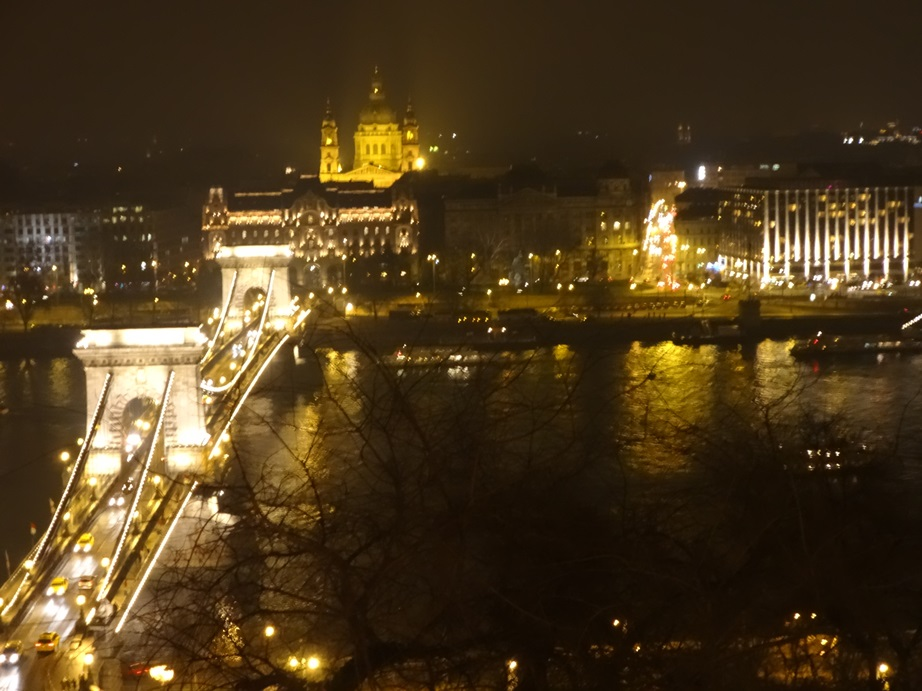 Looking across the Chain Bridge to the Pest side of Budapest, from Castle Hill