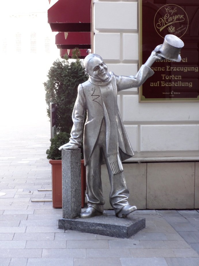 """One of several """"whimsical"""" statues erected in Bratislava by the government, hoping to make the place seem a little more fun."""
