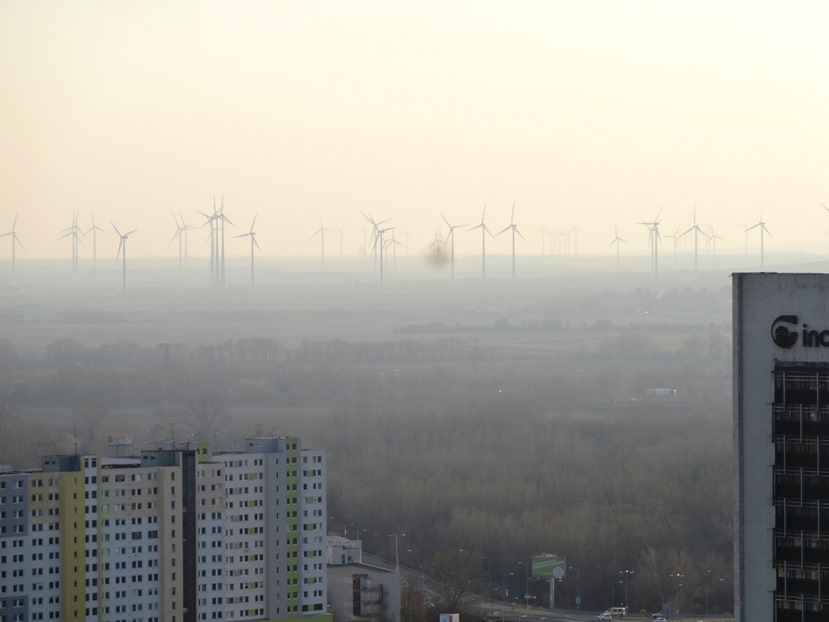 View of wind farm in smoggy air, from UFO tower in Bratislava. I finally stopped coughing once I got about 2 hours away from Bratislava.