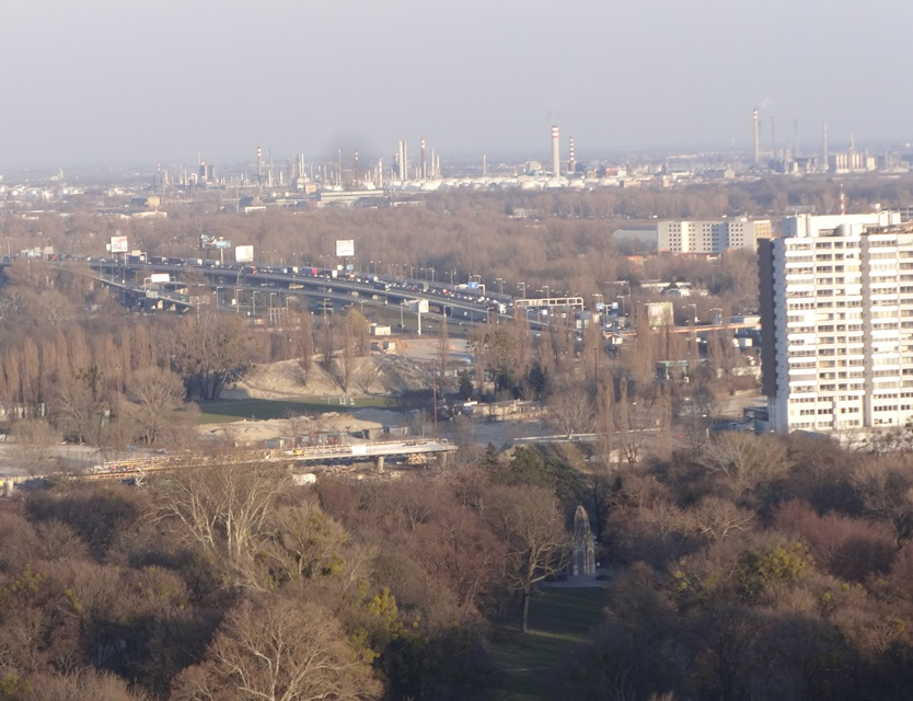 View of smog source from UFO tower, Bratislava.