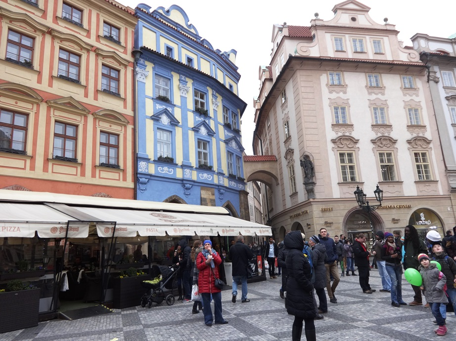 Old Town Prague. I regret to inform you that there is a Starbucks in the ground floor of the blue building. I spent a lot of money in the crystal shop to the right of the blue building.