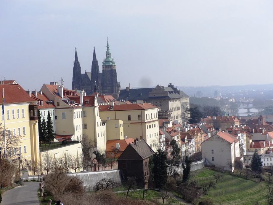 Looking down toward Old Town from Prague Castle, up on a hill