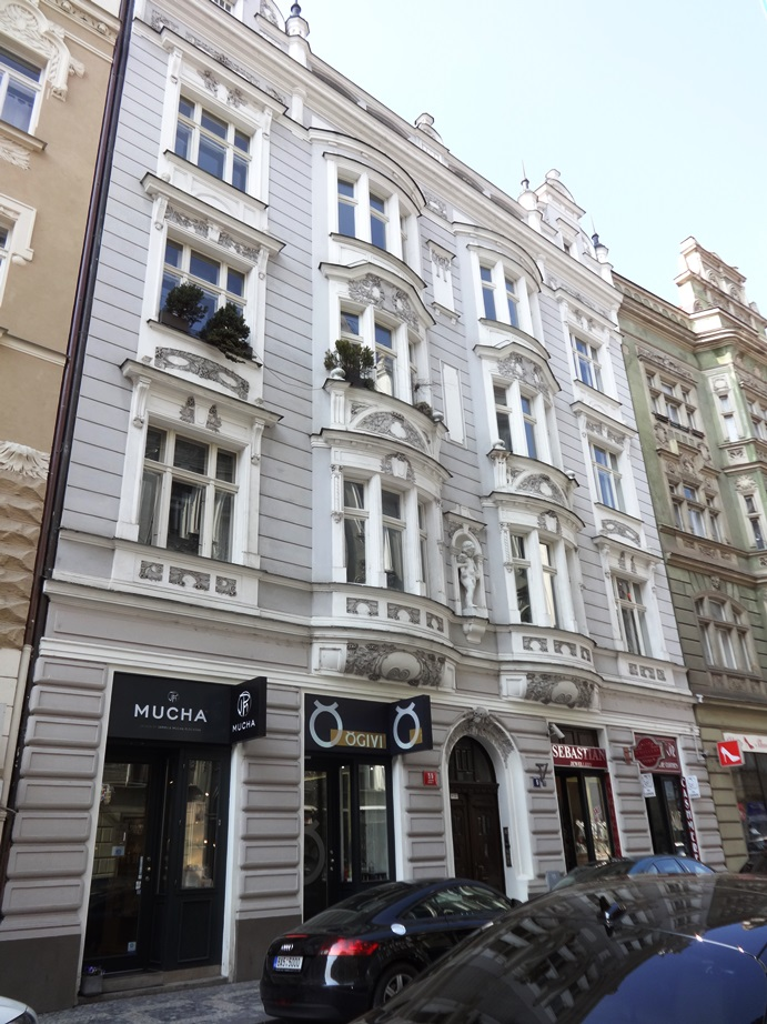 Beautiful apartment buildings in the Jewish Quarter, Prague. This area was where the Nazis lived in WWII, so it is one of the very few Jewish Quarters that was not decimated in the war. The Nazis stole and hid a lot of valuable art here, so that, too, was spared.
