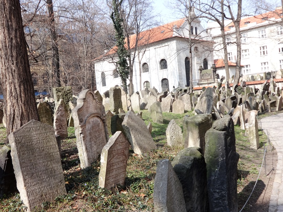 Old Jewish Cemetery, Prague. They were not allowed to expand the cemetery into new area, so they expanded vertically - many people of one family are buried one on top of the other under their family tombstone. Over 12,000 tombstones here.