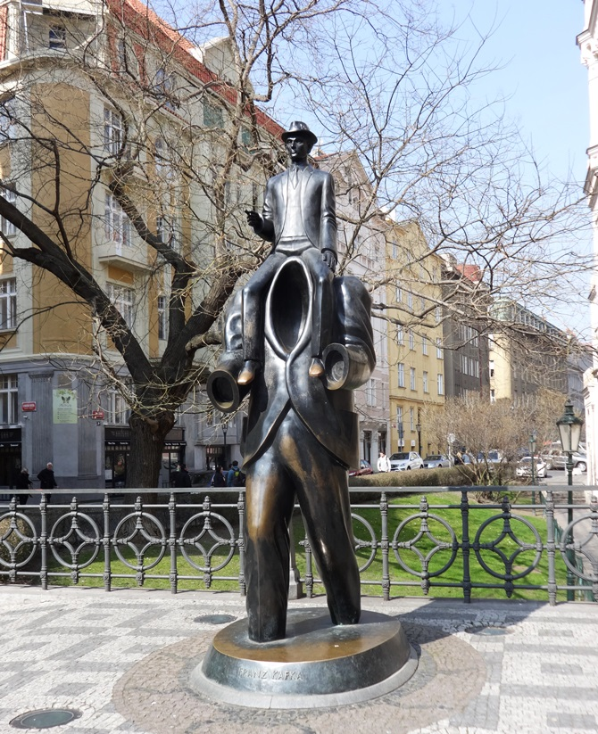 Franz Kafka once said he wished he could see the world from outside himself, so they built this sculpture to let him  do it. Prague