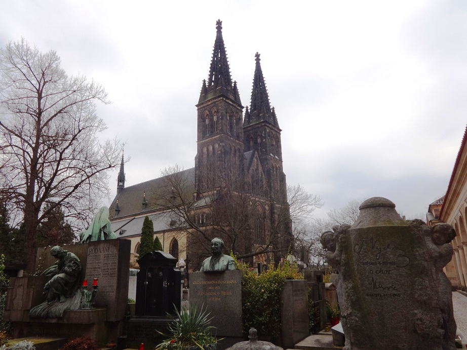 Vyšehrad Cemetery, where famous artists and musicians are buried. Surprisingly, it was a joyful place to visit because the tombstones all celebrated the art the person had accomplished. Prague